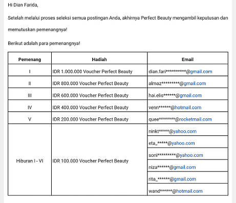juara satu perfect beauty lomba blog