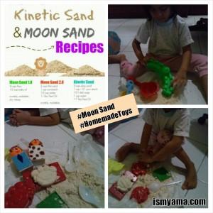 Najla senang karena boleh main pasir
