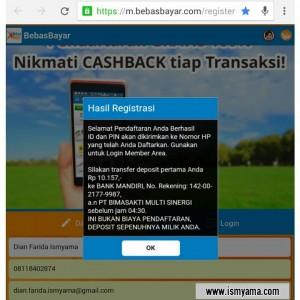 Keterangan setelah registrasi di BebasBayar, via email dan sms juga dapat