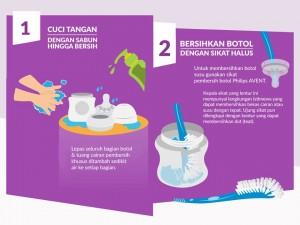Cara membersihkan botol susu, langkah 1 dan 2
